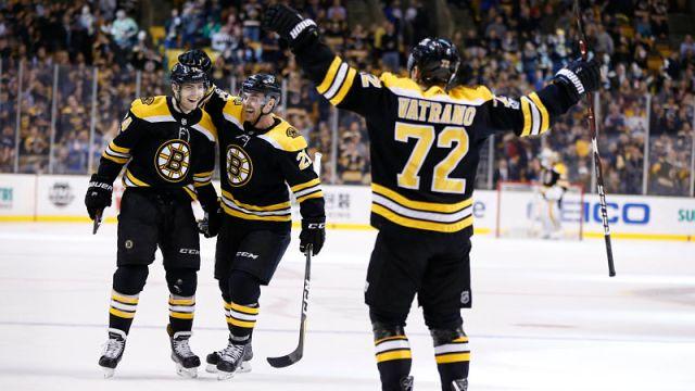 Boston Bruins winger Jake DeBrusk and center Frank Vatrano