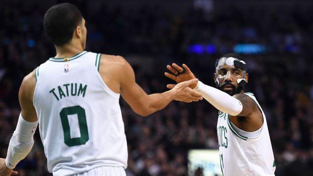 Boston Celtics forward Jayson Tatum and guard Kyrie Irving