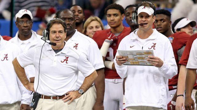 Alabama head coach Nick Saban and FAU head coach Lane KIffin