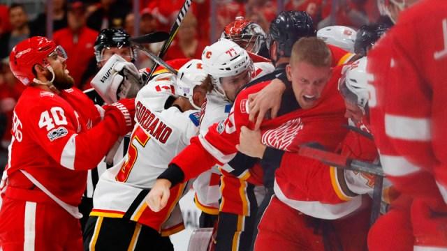 Flames vs. Red Wings brawl