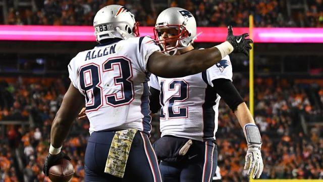 New England Patriots quarterback Tom Brady and tight end Dwayne Allen