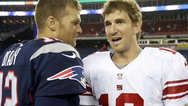 Patriots quarterback Tom Brady, Giants quarterback Eli Manning