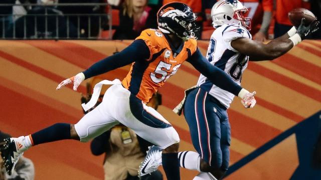 Broncos linebacker Von Miller, Patriots tight end Dwayne Allen