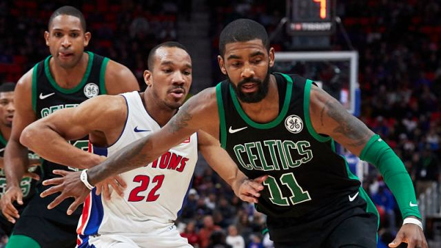 Boston Celtics forward Al Horford and guard Kyrie Irving and Detroit Pistons guard Avery Bradley