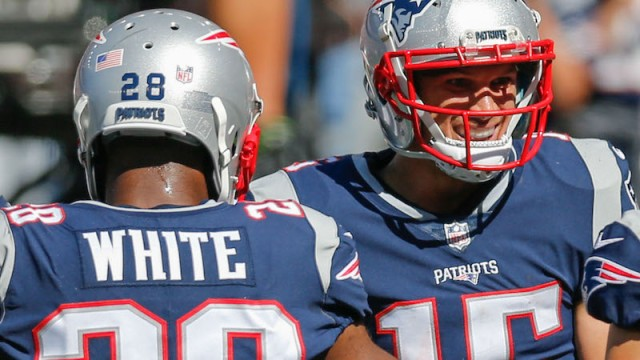 Patriots running back James White, wide receiver Chris Hogan