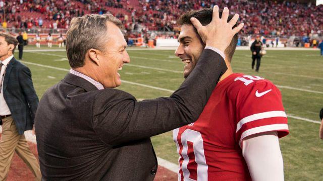 San Francisco 49ers quarterback Jimmy Garoppolo and general manager John Lynch