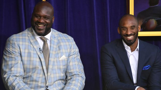Former NBA players Kobe Bryant and Shaquille O'Neal