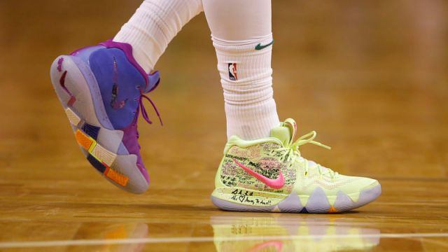 Boston Celtics guard Kyrie Irving's Kyrie 4 nikes
