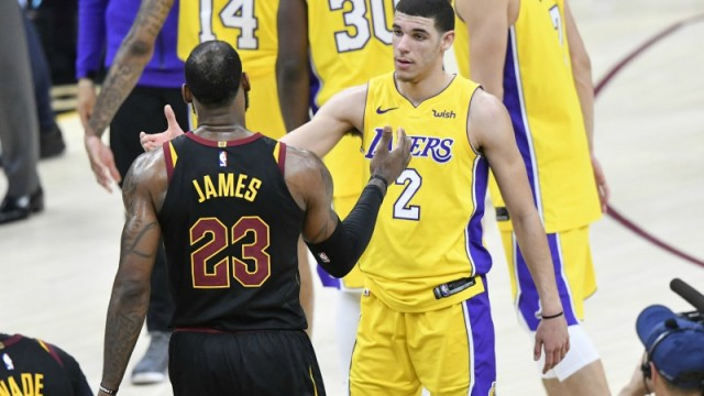 Cleveland Cavaliers forward LeBron James and Los Angeles Lakers guard Lonzo Ball