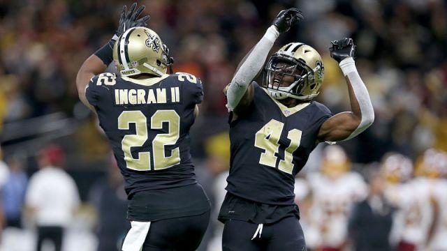 New Orleans Saints running backs Mark Ingram and Alvin Kamara
