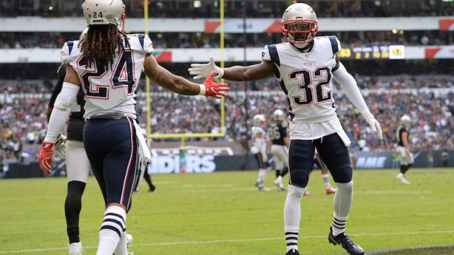 New England Patriots cornerback Stephon Gilmore, safety Devin McCourty