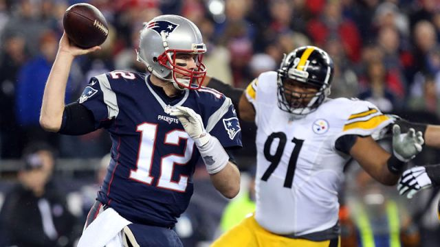 New England Patriots quarterback Tom Brady and Pittsburgh Steelers defensive end Stephon Tuitt
