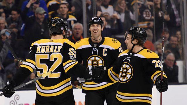 Boston Bruins defenseman Charlie McAvoy and Zdeno Chara