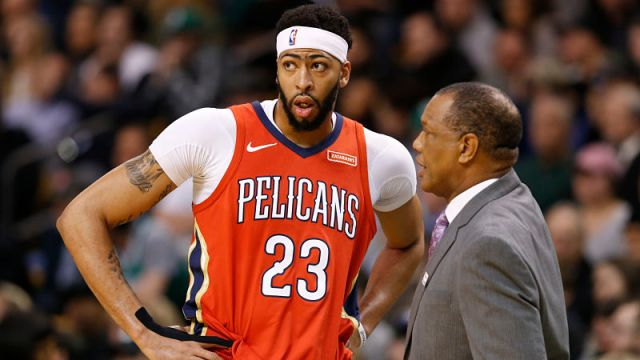 New Orleans Pelicans forward Anthony Davis and head coach Alvin Gentry