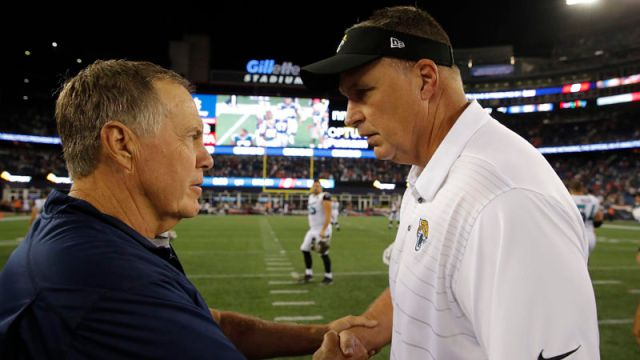 New England Patriots coach Bill Belichick and Jacksonville Jaguars coach Doug Marrone