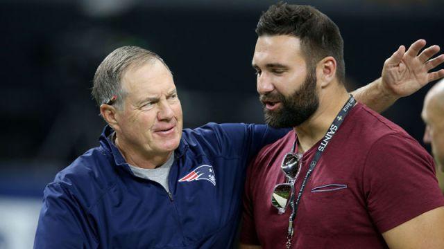 New England Patriots head coach Bill Belichick and defensive end Rob ninkovich
