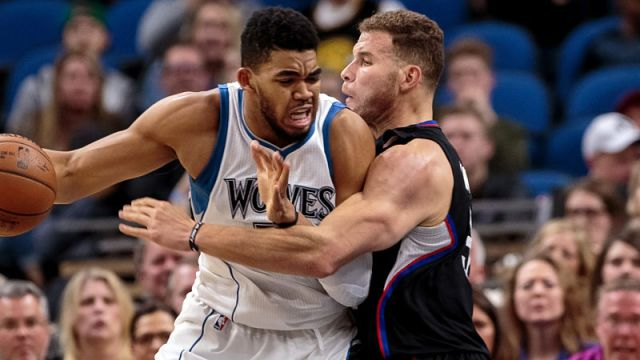 Los Angeles Clippers forward Blake Griffin and Minnesota Timberwolves forward Karl-Anthony Towns