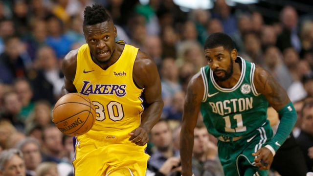 Los Angeles Lakers forward Julius Randle and Boston Celtics point guard Kyrie Irving