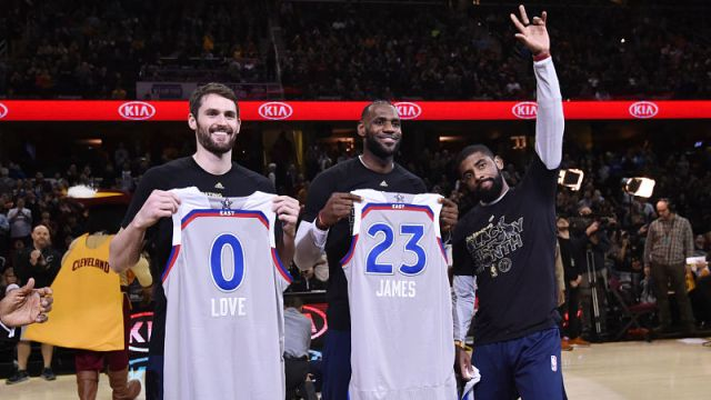 Cleveland Cavaliers forwards Kevin Love and LeBron James and Boston Celtics guard Kyrie Irving