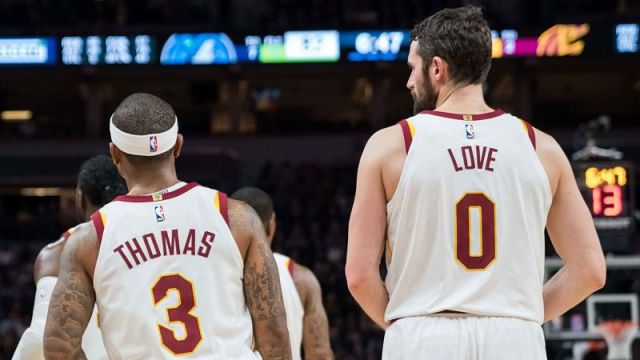 Cleveland Cavaliers guard Isaiah Thomas and forward Kevin Love