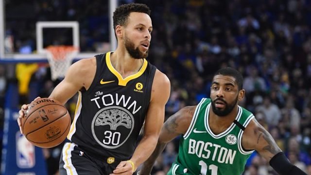 Golden State Warriors guard Steph Curry and Boston Celtics guard Kyrie Irving