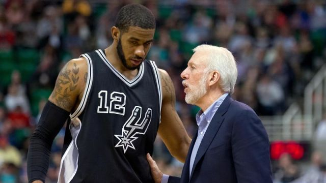San Antonio Spurs forward LaMarcus Aldridge and coach Gregg Popovich