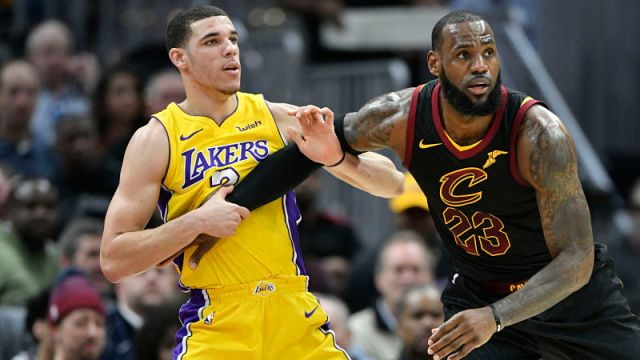 Los Angeles Lakers guard Lonzo Ball and Cleveland Cavaliers forward LeBron James