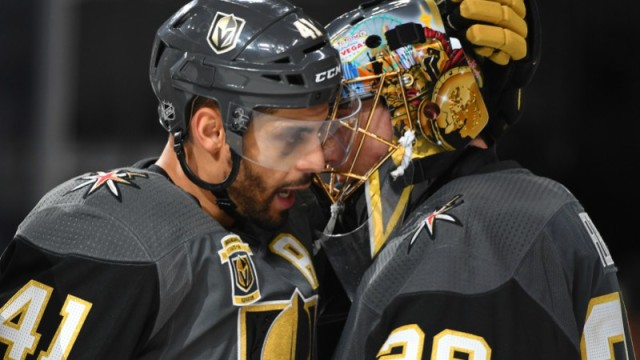 Vegas Golden Knights left wing Pierre-Edouard Bellemare and goaltender Marc-Andre Fleury