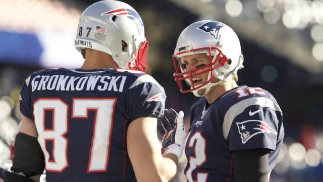 New England Patriots tight end Rob Gronkowski and quarterback Tom Brady