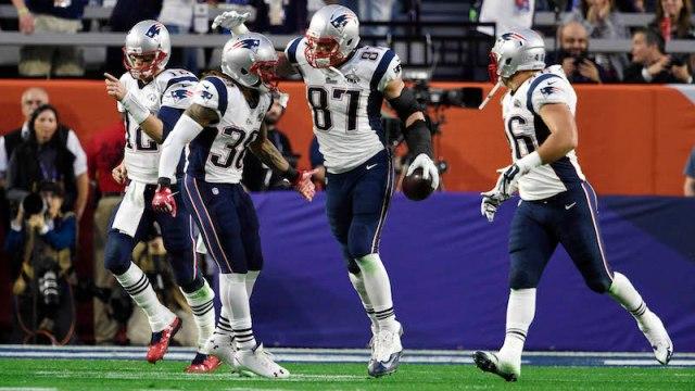 Patriots QB Tom Brady, RB Brandon Bolden, TE Rob Gronkowski, FB James Develin