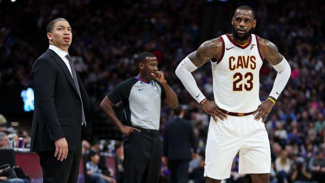 Cleveland Cavaliers coach Tyronn Lue and forward LeBron James