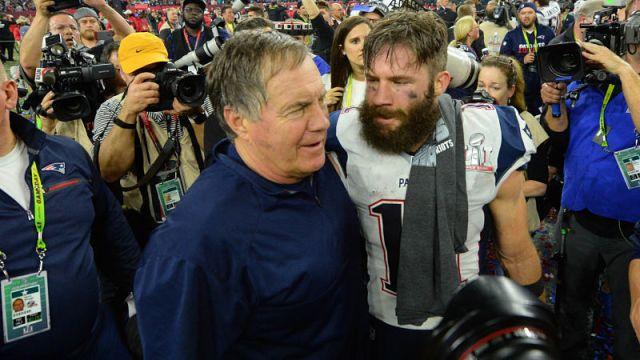 New England Patriots head coach Bill Belichick and wide receiver Julian Edelman