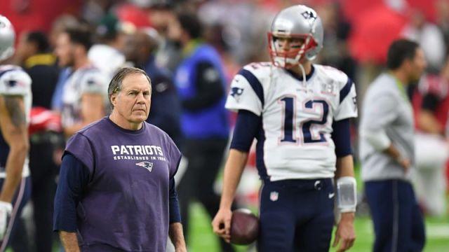 New England Patriots head coach Bill Belichick and Tampa Bay Buccaneers Quarterback Tom Brady