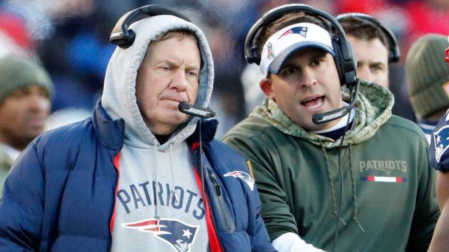 New England Patriots head coach Bill Belichick and offensive coordinator Josh McDaniels