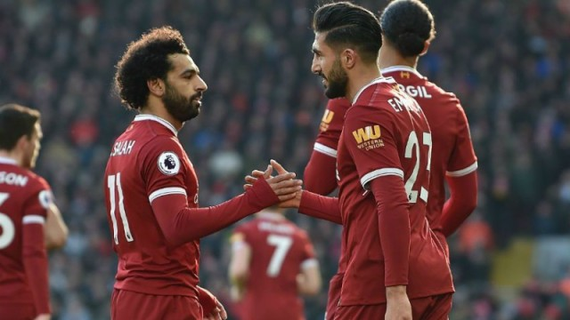 Liverpool's Mohammed Salah and Emre Can