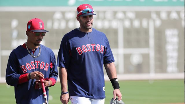 Boston Red Sox outfielders Mookie Betts and J.D. Martinez