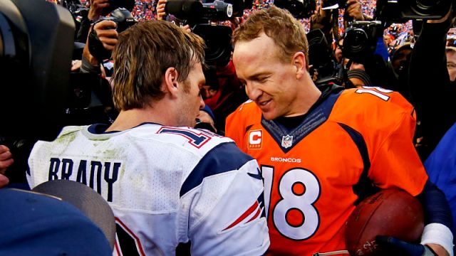 New England Patriots quarterback Tom Brady and former NFL quarterback Peyton Manning