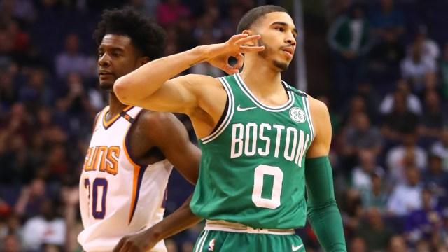 Boston Celtics forward Jayson Tatum and Phoenix Suns forward Josh Jackson