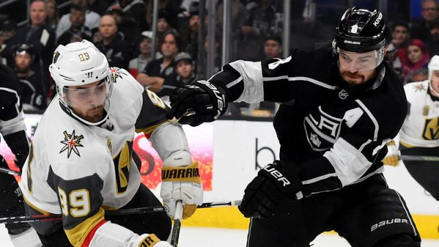 Vegas Golden Knights forward Alex Tuch and Los Angeles Kings defenseman Drew Doughty