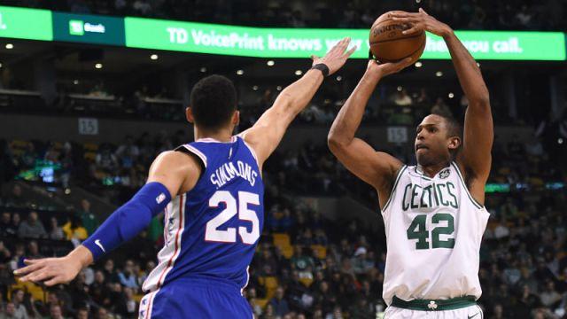 Philadelphia 76ers guard Ben Simmons and Boston Celtics forward Al Horford