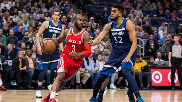 Houston Rockets guard Chris Paul and Minnesota Timberwolves forward Karl-Anthony Towns