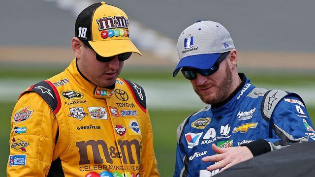 NASCAR drivers Kyle Busch and Dale Earnhardt Jr.
