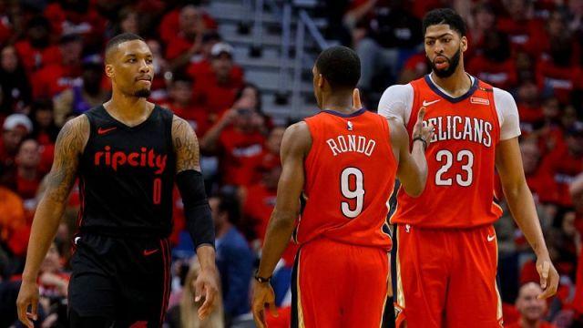 Portland Trail Blazers guard Damian Lillard, New Orleans Pelicans guard Rajon Rondo and forward Anthony Davis