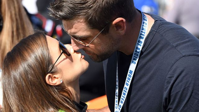 Professional racecar driver Danica Patrick and Green Bay Packers quarterback Aaron Rodgers