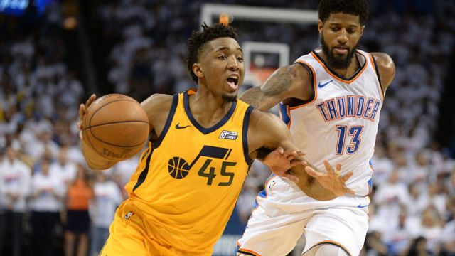 Utah Jazz guard Donovan Mitchell and Oklahoma City Thunder forward Paul George