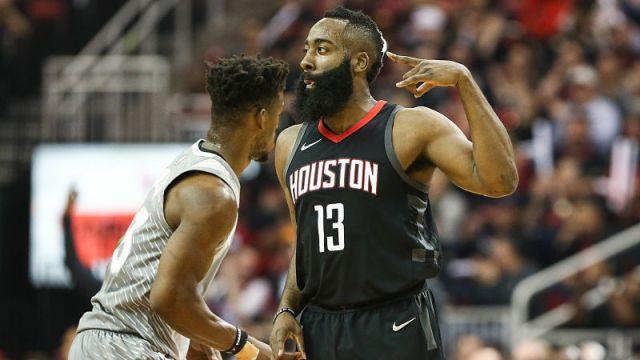 Minnesota Timberwolves forward Jimmy Butler and Houston Rockets guard James Harden