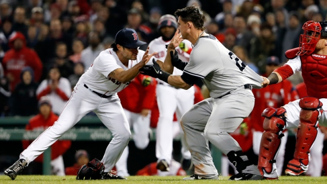 Boston Red Sox Relief Pitcher Joe Kelly And New York Yankees Infielder Tyler Austin