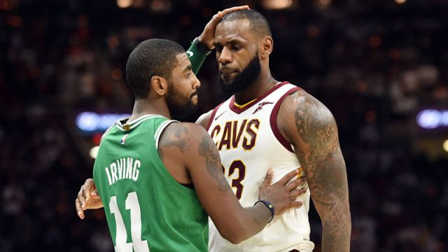 Boston Celtics guard Kyrie Irving and Cleveland Cavaliers forward LeBron James