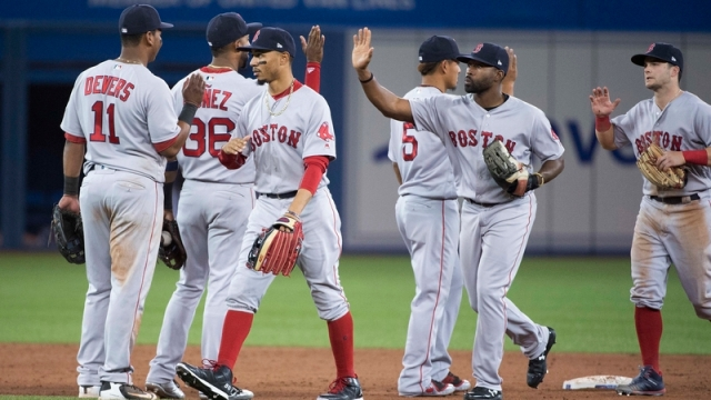 Boston Red Sox Celebrate After 5-4 Victory Over Toronto Blue Jays
