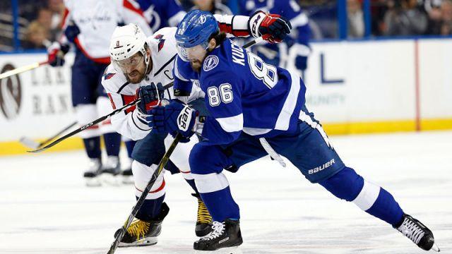 Washington Capitals forward Alex Ovechkin and Tampa Bay Lightning forward Nikita Kucherov